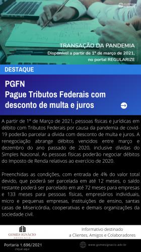 Clipping Jurídico 2021 - Tributos Federais com desconto