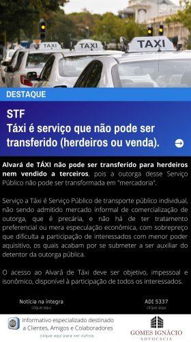 Clipping Jurídico - TÁXI é serviço que não pode ser transferido